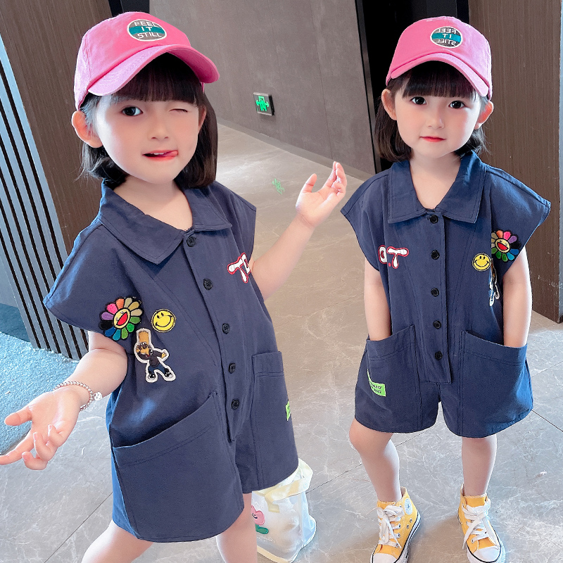 Childrens summer clothes Korean work clothes one-piece pants boys and girls sleeveless one-piece clothes baby one-piece shorts go out ha fashion