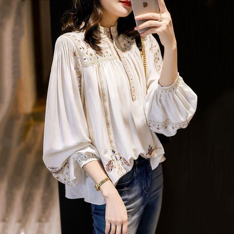 时尚百搭印花衬衫女2021年春秋新款立领波西米亚风宽松洋气上衣