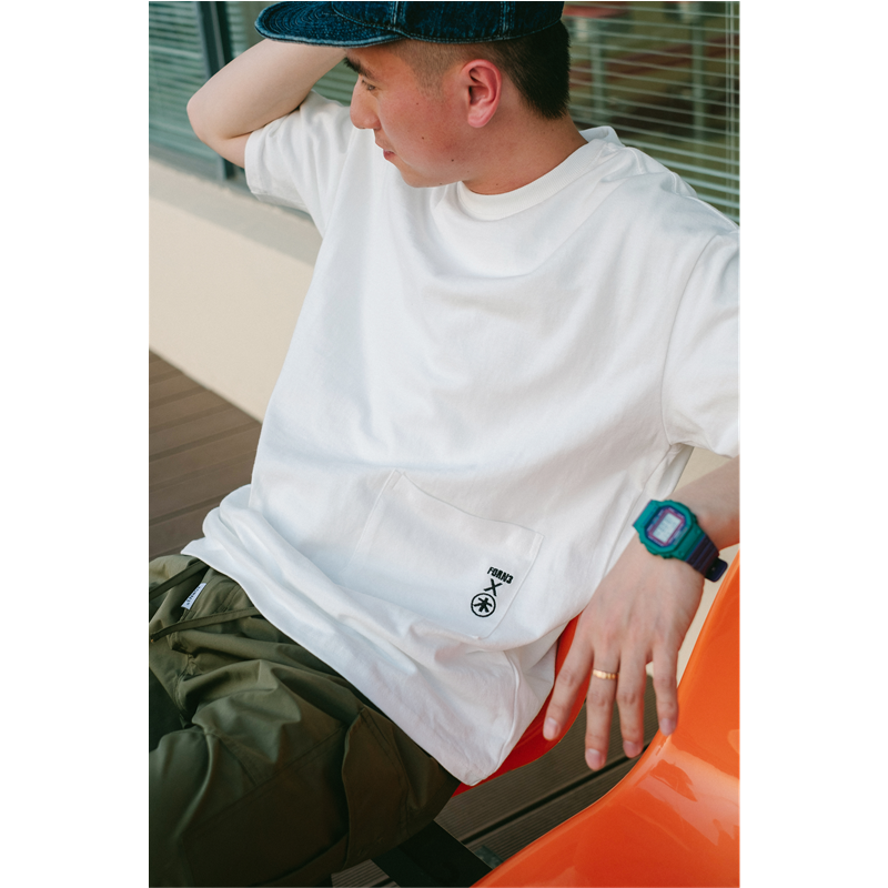 Forn3 national fashion letter embroidered t-shirt mens summer new loose and wide cityboy round neck simple short sleeve