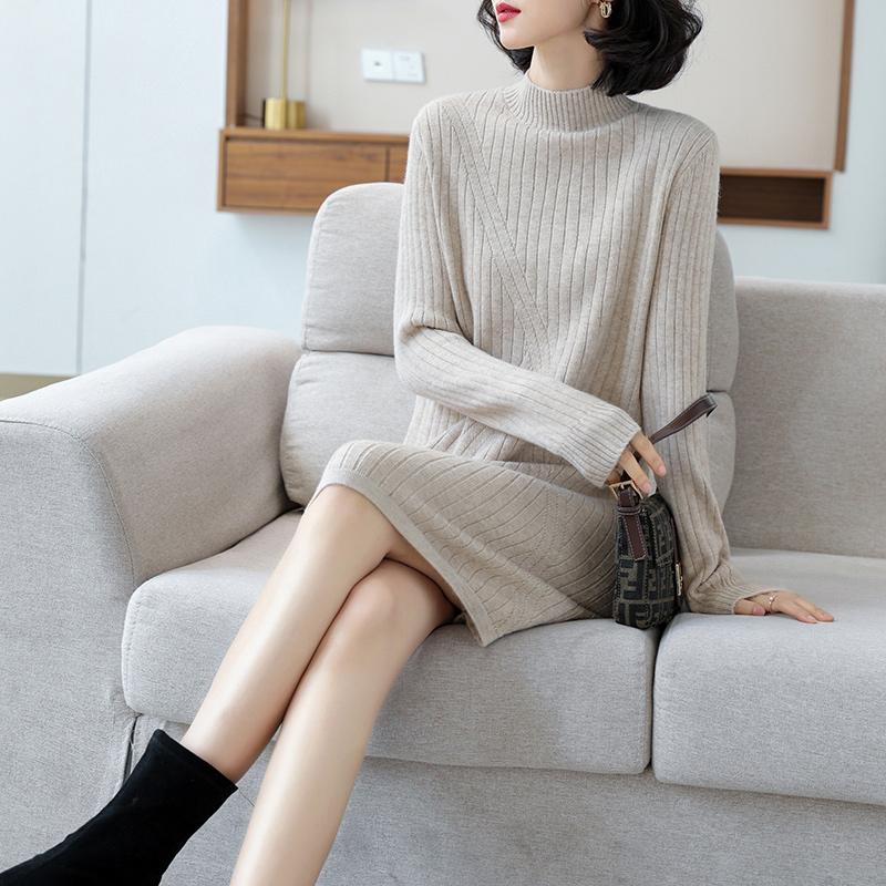 中长款半高领羊毛衫女2021秋冬新款宽松套头针织衫内搭显瘦打底衫