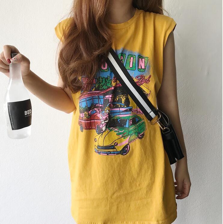 2021 summer new loose medium length car printed sleeveless suspender vest T-shirt small dress women