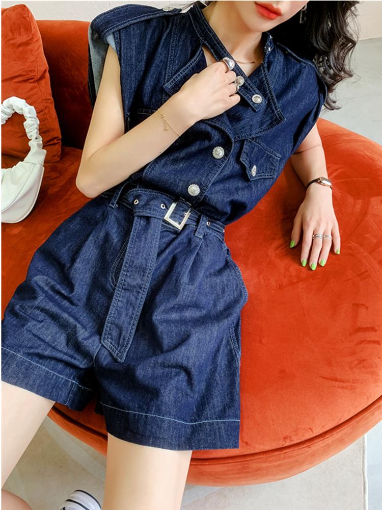 One piece pants womens Denim Shorts summer thin 2021 new one-piece temperament fashion strap sleeveless one-piece suit