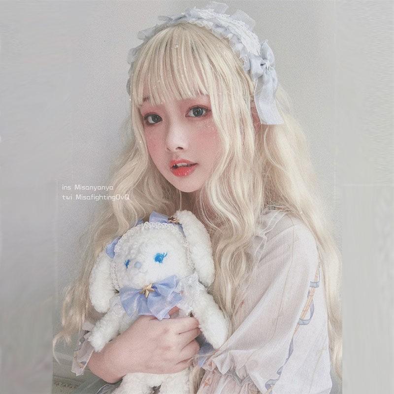 洛丽塔万用假发COS 少女日系米白色Lolita长卷发玉米烫泡面卷假毛