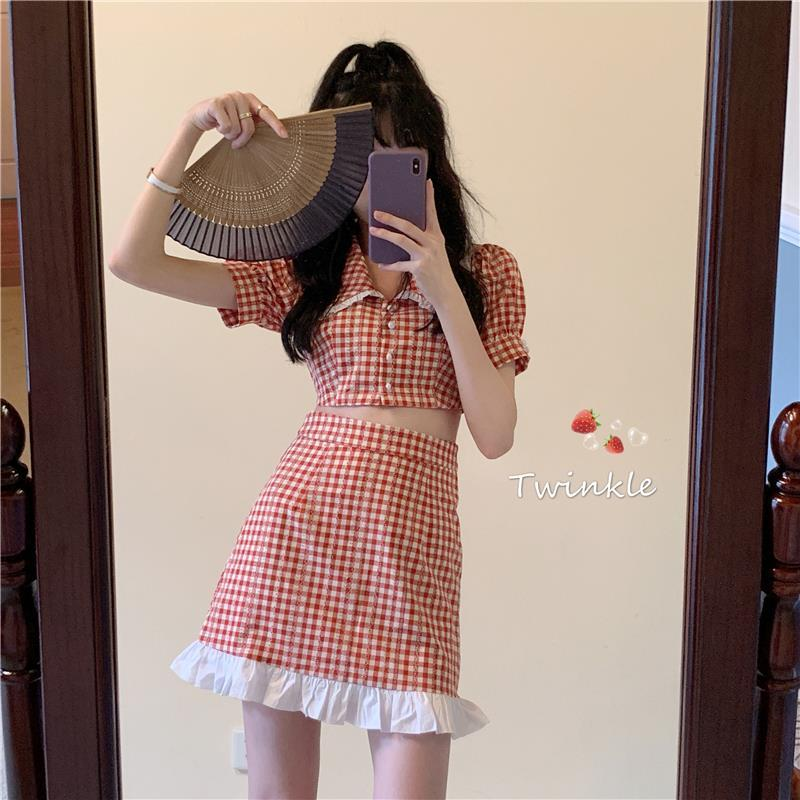 Summer 2021 new college style slim and sweet aging Plaid Lapel short sleeve shirt womens fashion suit