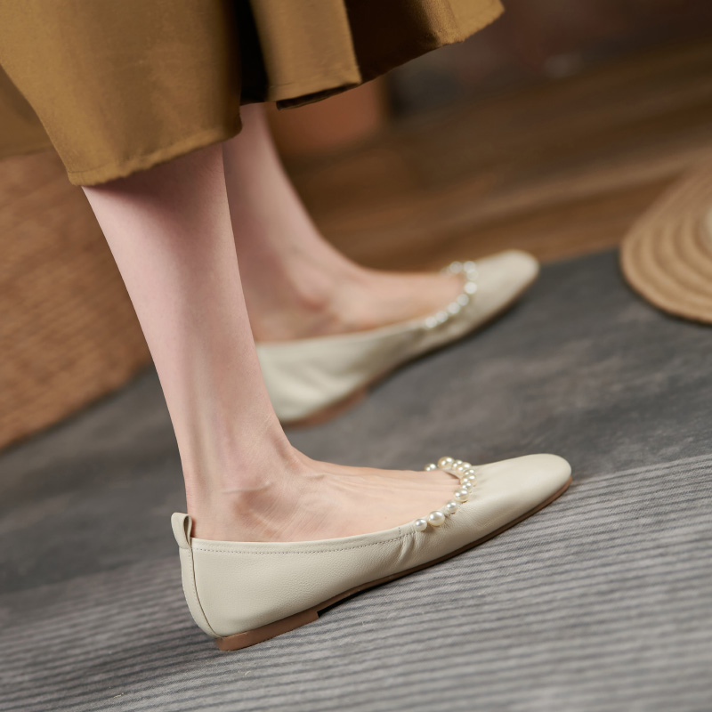 Shoes female pearl single shoes versatile flat bottomed Doudou ballet shoes huge soft round head shallow mouth soft sole Zhang Xianxian comfortable