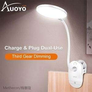 Auoyo Led Table Lamp Clip Desk Lamp with 3 Modes Touch On/of
