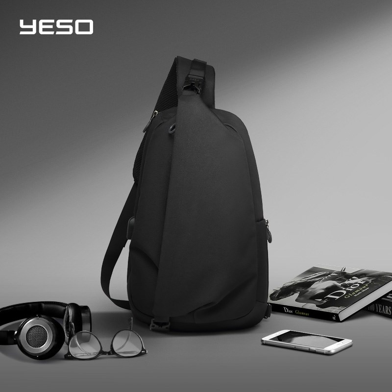 YESO Fashion Crossbody Bags with USB Sling Chest Bag Waterp