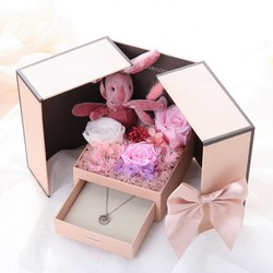 2020 Valentine's Day gift teddy bear rose two door gift box