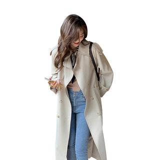2021年新款女装春秋款外套小个子风衣中长款英伦风百搭大衣早秋装