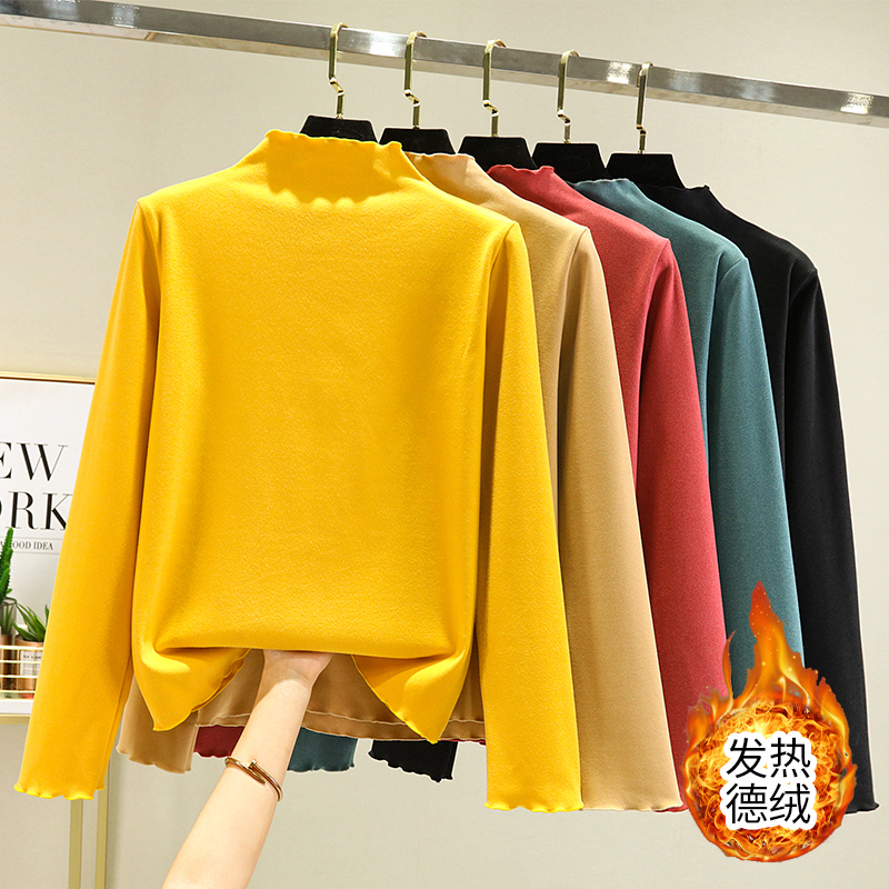 German cashmere half high collar bottomed shirt for women in winter with plush long sleeved T-shirt, foreign style, versatile, thin wooden ear collar top