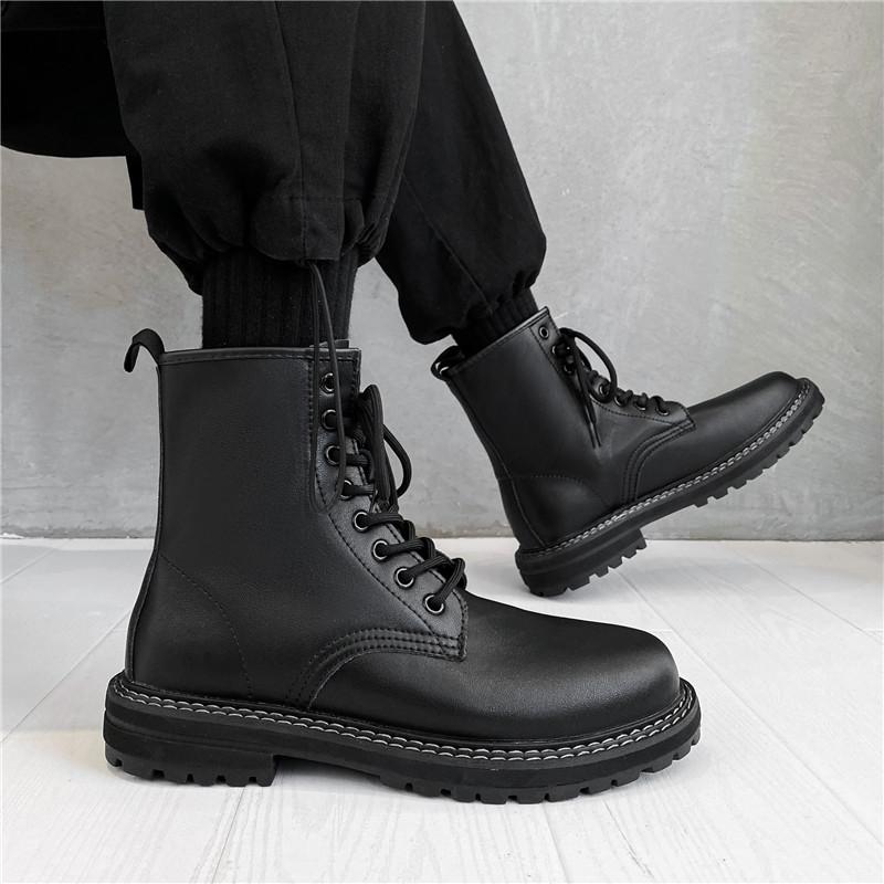 马丁靴男2021年新款潮秋冬高帮男鞋子中帮男鞋英伦风皮鞋黑色靴子