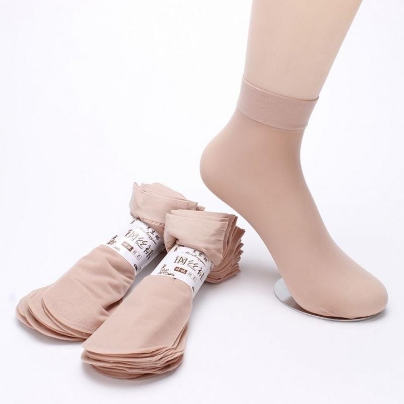 丝袜女黑款短款防勾薄袜子女士丝肉色耐磨钢中筒春秋水晶棉底夏季