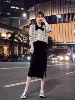 大码女装2021年新款时尚秋季微胖妹妹洋气潮流显瘦两件套遮肉套装
