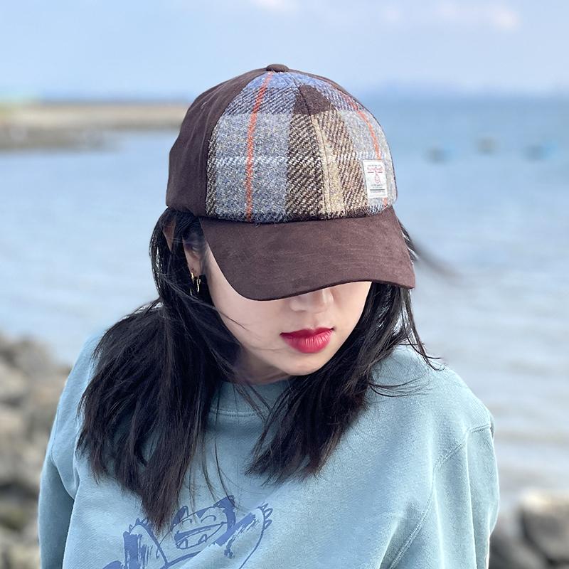 Harris tweed baseball cap Harris handmade adjustable Vintage soft top checkered couple cap