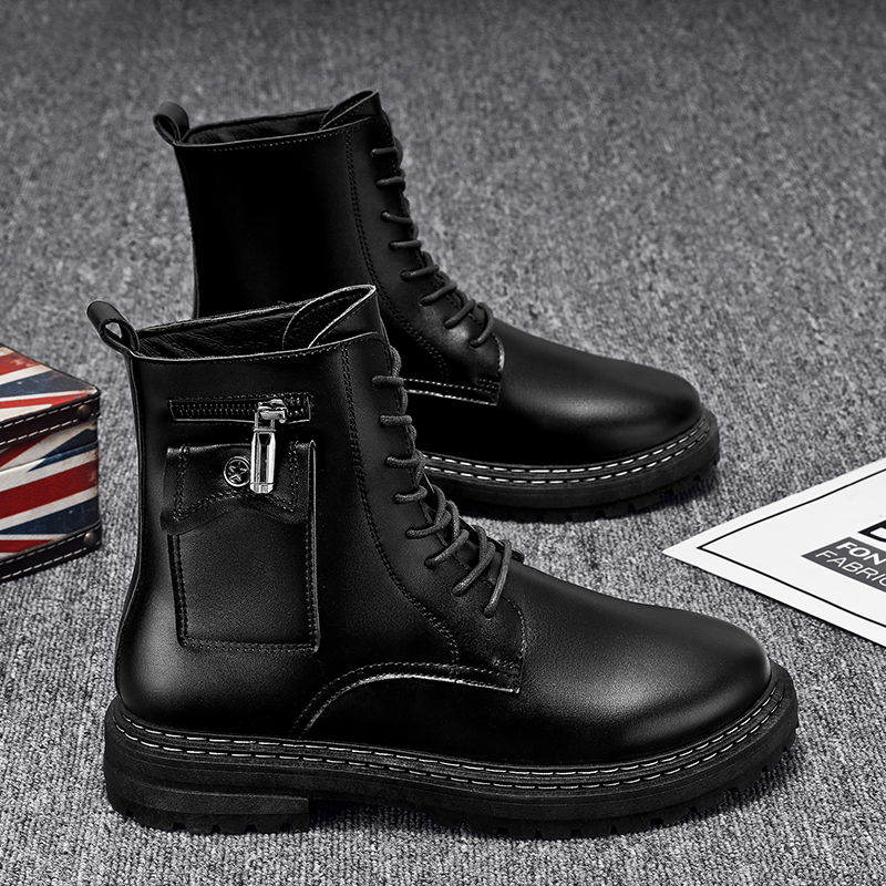 Qing Mountain Wolf winter mens shoes British leather boots high boots high top locomotive tooling Boots Black Leather Martin boots men