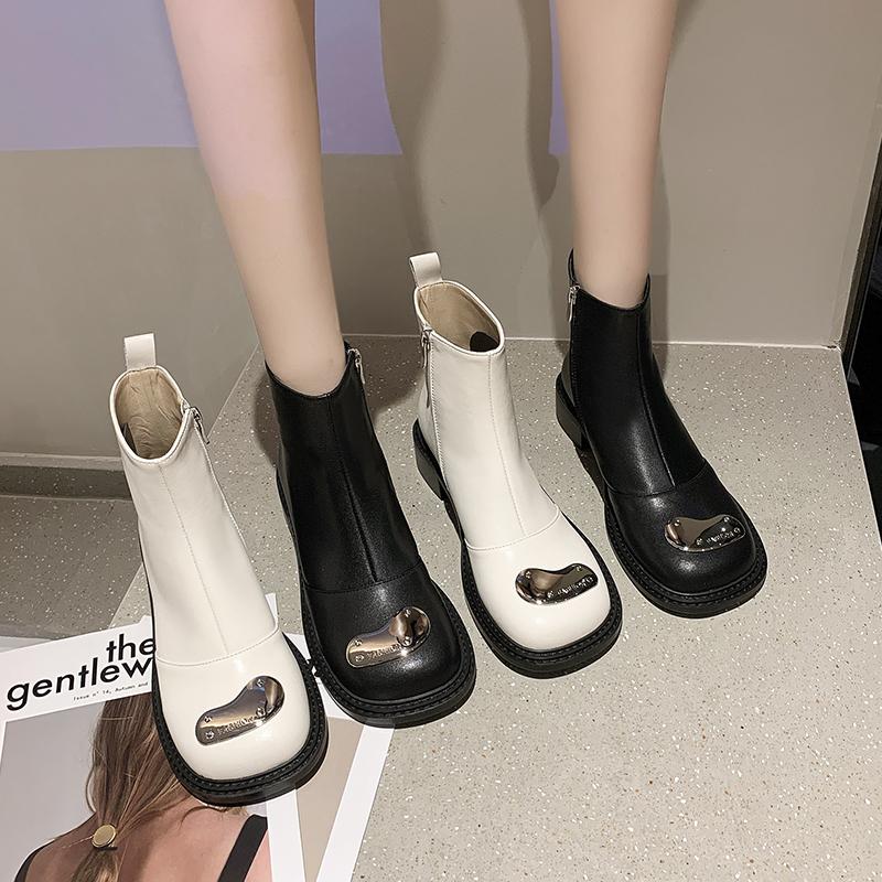 瘦瘦靴女2021秋季新款方头粗跟防滑时尚百搭英伦风复古短筒马丁靴
