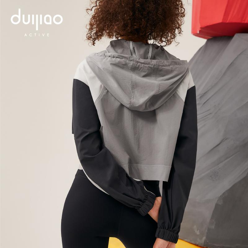 Focus sports coat womens autumn and winter color blocking s Casual Short Jacket windbreaker outdoor running windproof top fitness