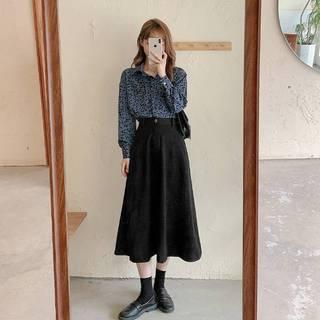 秋装2021年新款大码女装半身连衣裙子秋冬季两件套装港风复古chic