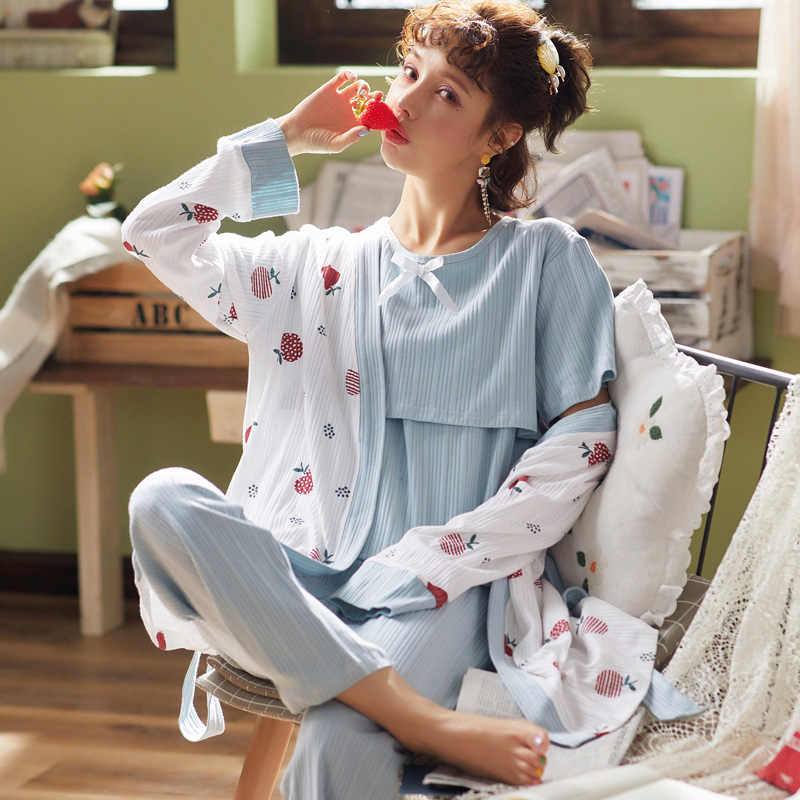 实拍月子服三件套纯棉春秋冬产前产后孕妇哺乳睡衣套装甜美家居服