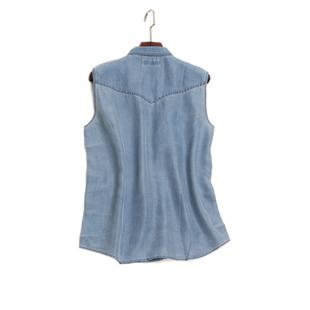 外貿 沙洗真絲牛仔無袖襯衫 霧霾藍幹練帥氣雙口袋襯衣女夏薄上衣