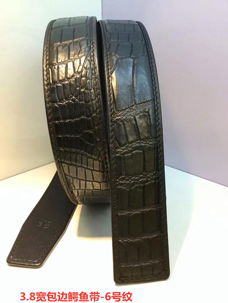Headless pure cattle belt body top layer cattle business board buckle strip 3.8 wide wrapped crocodile belt No.6 pattern