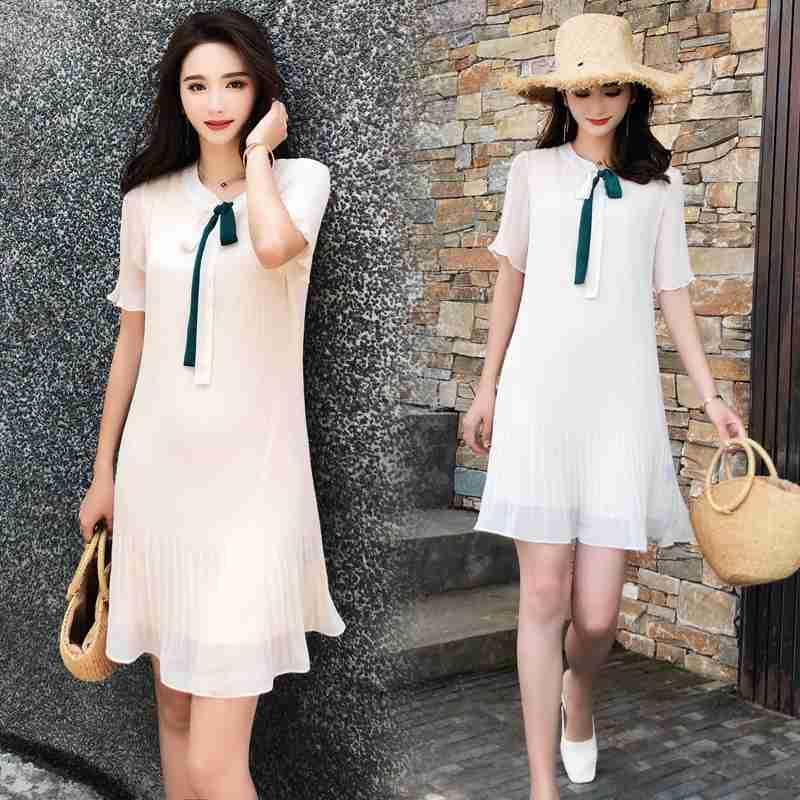 2020 summer womens new Korean Short Sleeve V-neck dress womens pleated Ruffle Chiffon Lace Up slim