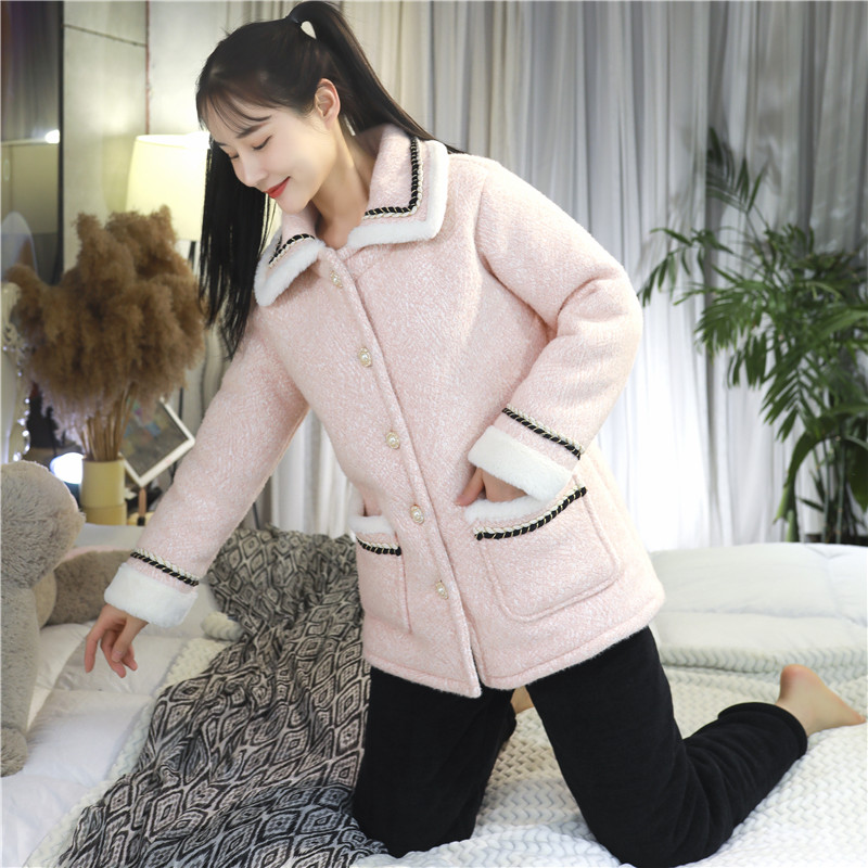 Winter pajamas womens thickened cashmere warm coral cashmere winter three layer cotton plus size cute home suit
