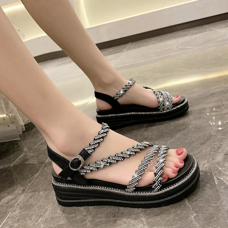 2021 summer new fashion sandals bright diamond flat bottomed womens shoes one line buckle womens low heel open toe casual shoes