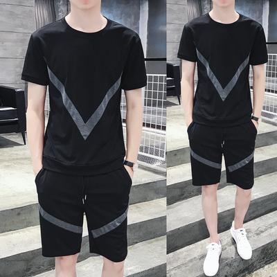 TZ70 夏季新款大v拼接短裤短袖T恤套装 男潮流运动跑步两件套 P55