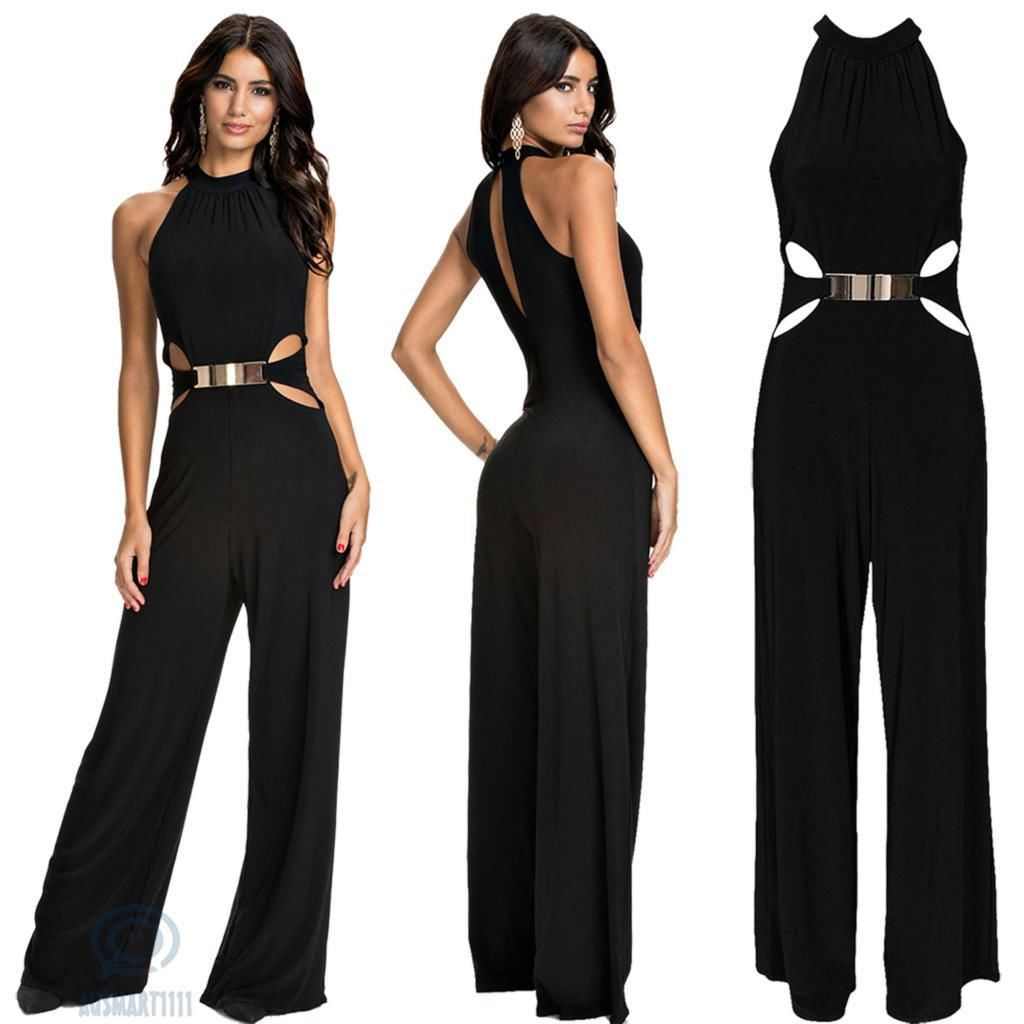 4579# fashion casual splicing long sleeve high neck flared pants black suspender Jumpsuit