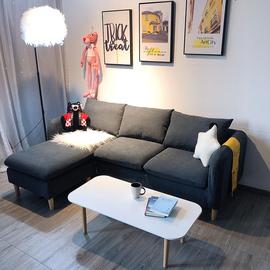北欧布艺沙发小户型客厅简约现代出租房服装店双三人网红款小沙发图片