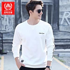 春季新款棉质圆领长袖T恤男休闲男士潮流上衣打底衫白色卫衣男装