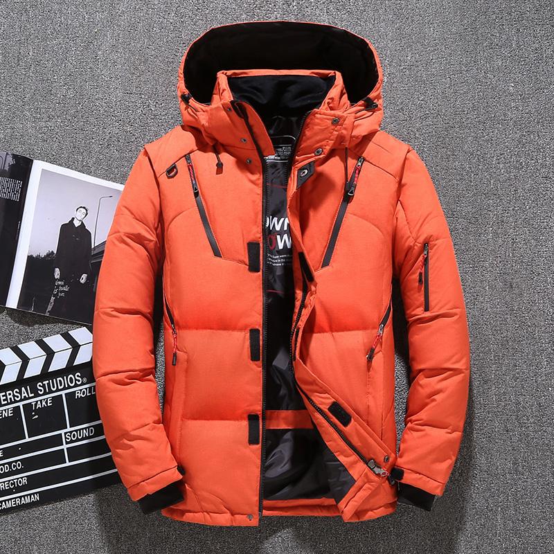 反季男羽绒服外套保暖轻薄修身短款潮橘色帅气爆款休闲冬鸭绒大码