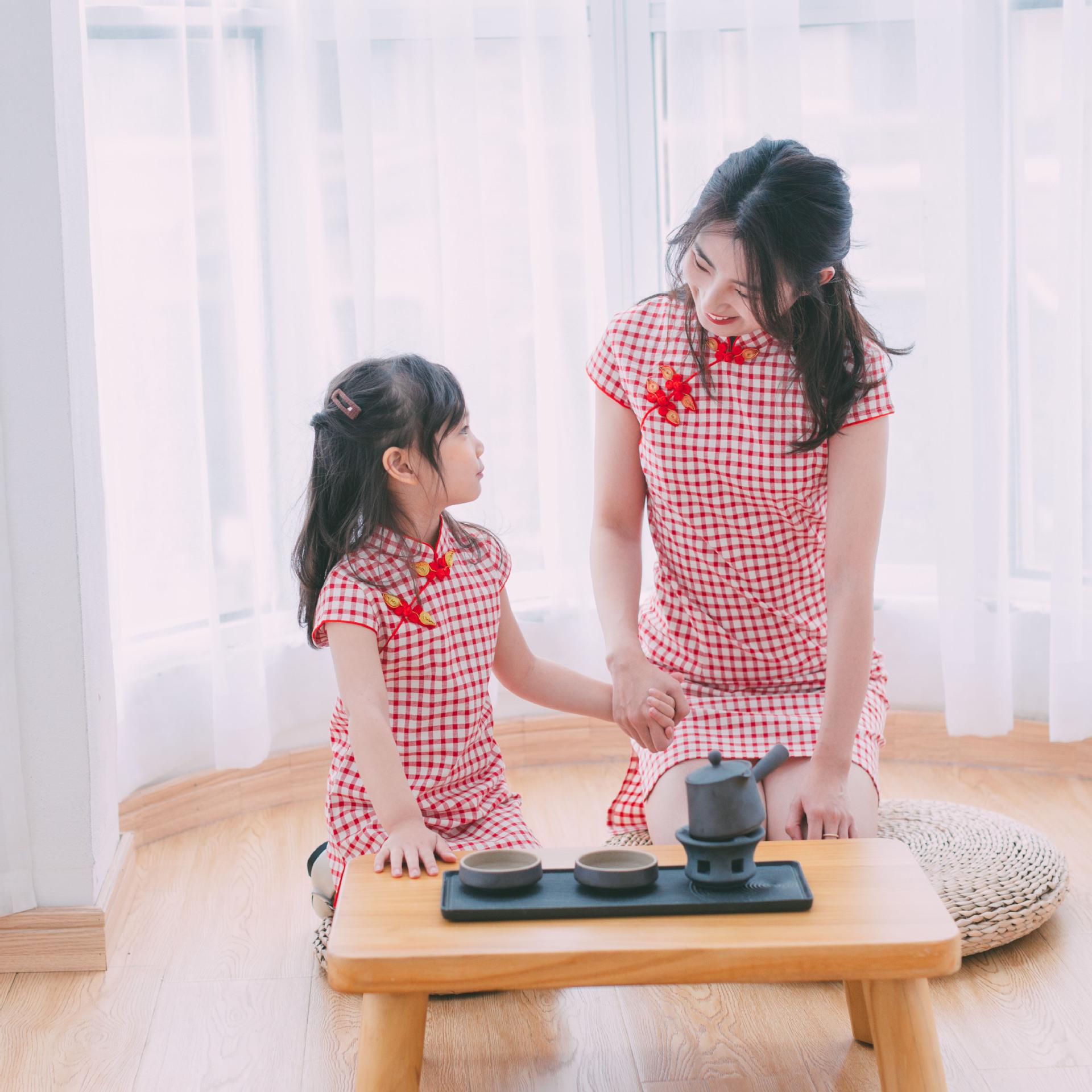 夏季亲子装中国风文艺棉麻旗袍裙子母女装女童唐装儿童连衣裙2019