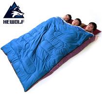 户外轻便三人棉睡袋加厚保暖秋冬季野外露营睡袋单人便携拼成双人