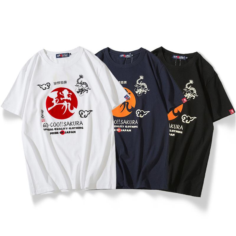 染吾夏季植绒印花卡通猴子短袖T恤男日本潮牌圆领纯棉半袖打底衫