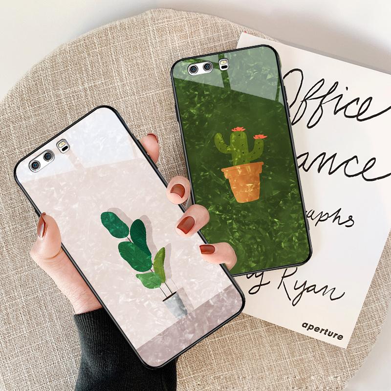 华为p10手机壳p10plus玻璃镜面女款可爱绿色个性超薄硅胶套硬潮新外网红in假一赔三