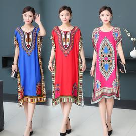 绵绸连衣裙短袖外穿韩版妈妈中老年女夏装2019新款气质裙子长裙