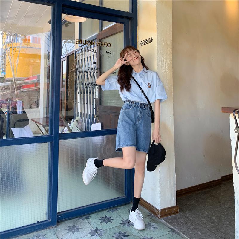 短裤女2020新款宽松港味学生牛仔裤