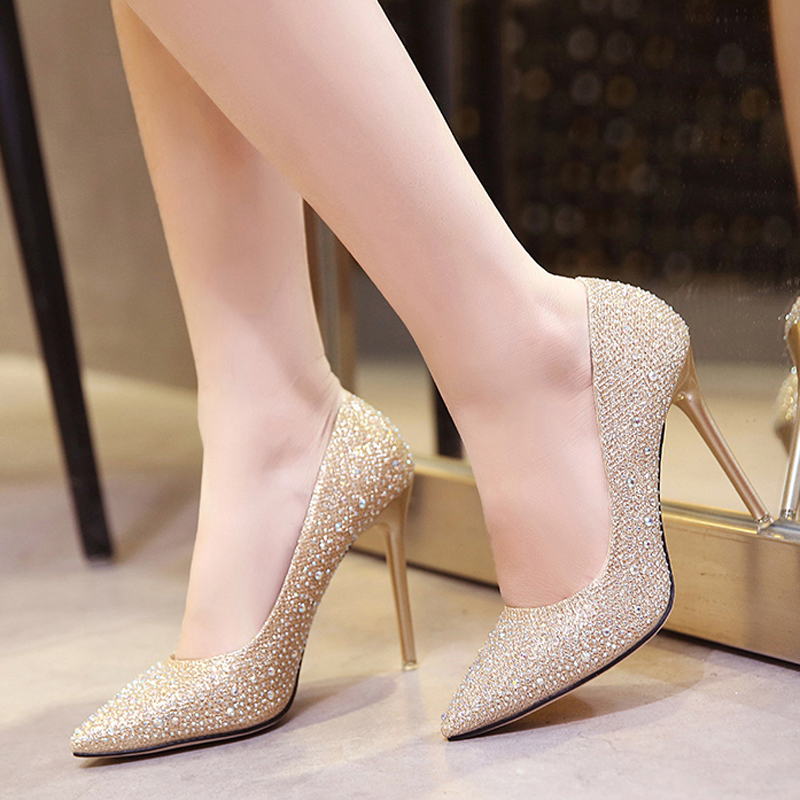 Evening dress high-heeled shoes girls 2017 new gold thin heel autumn winter 18-year-old silver pointed water diamond wedding shoes