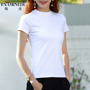 中領半高領短袖t恤女白色緊身上衣打底衫黑色修身短款ins洋氣內搭