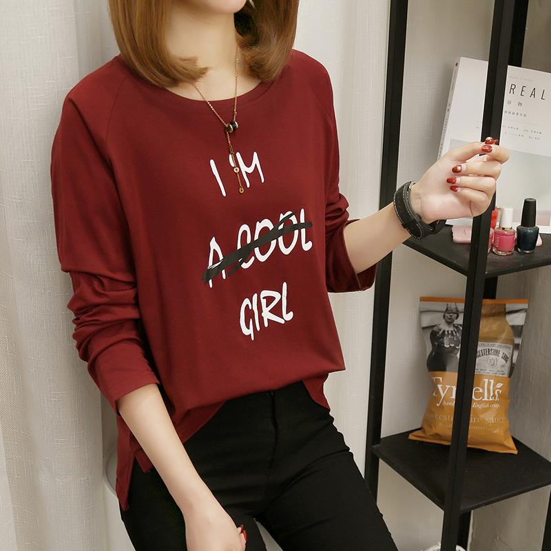 098#(实拍)胖妹妹秋装长袖T恤韩版宽松加肥加大码200斤打底衫