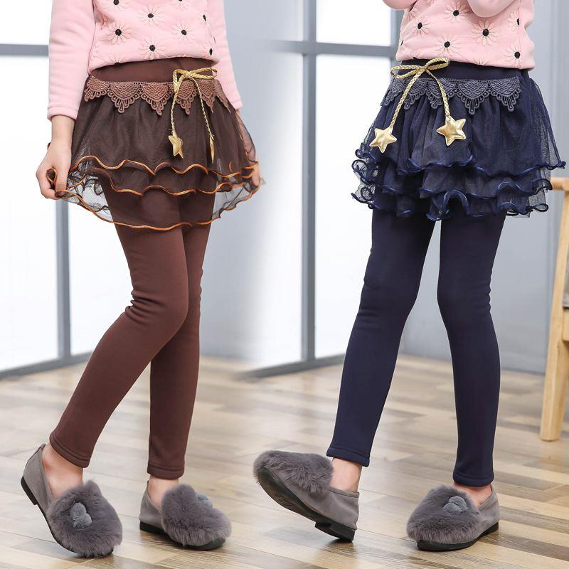 Classic Korean childrens and girls winter new beautiful velvet middle school childrens star lace skirt trend