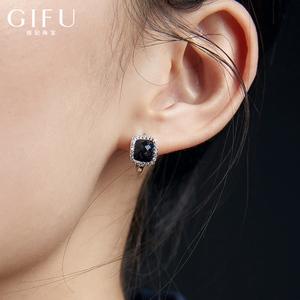 S925纯银小众耳扣大牌黑耳环女气质睡觉不用摘高级感耳钉法式复古