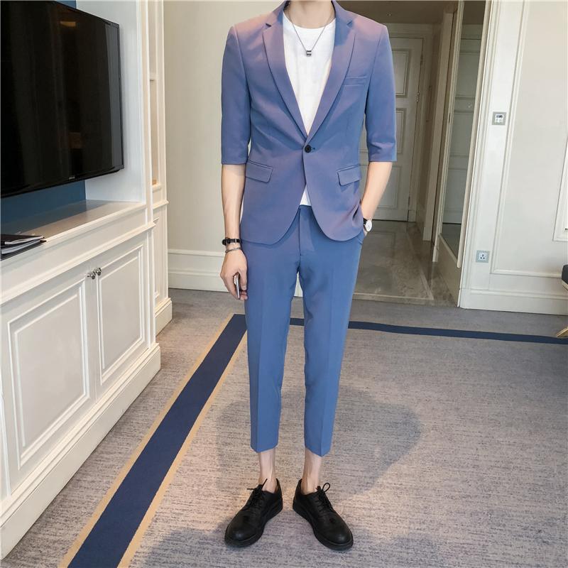 男士青年修身帅气潮流夏季五分袖七分裤两件套西服套装TZ02-P185