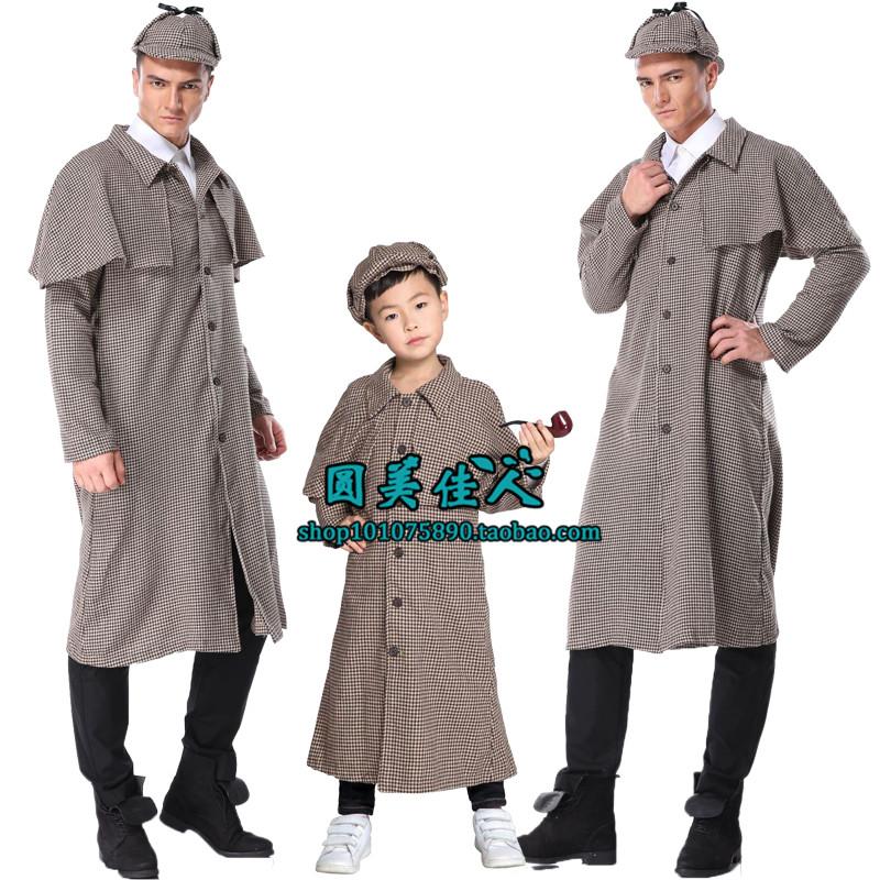 万圣节服装 成人 男童角色扮演夏洛克福尔摩斯亲子套装舞台演出服