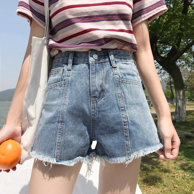 夏装女装韩版宽松高腰百搭毛边牛仔裤短裤显瘦阔腿裤学生外穿热裤