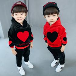 男童春秋套装宝宝加绒儿童春装衣服3-5周岁4-6童装金丝绒卫衣洋气