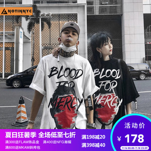 A god is not in New York 33TH Peony flower dead couple T-shirt graffiti hand-painted half sleeve national tide brand short-sleeved men