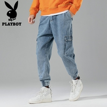 Playboy overalls, jeans, men's fashion brand, street slacks, retro leggings and long trousers in Europe and America in autumn